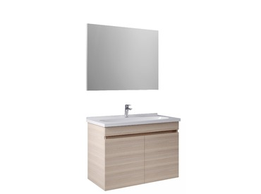 Krea 90Cm Kapaklı Set (Lavabo Dolabı+Ayna) Krem Meşe