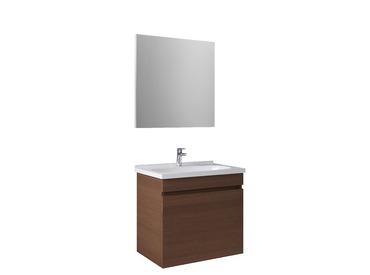 Krea 70Cm Kapaklı Set (Lavabo Dolabı+Ayna) Modern Ceviz