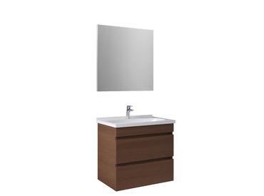 Krea 70Cm Çekmeceli Set (Lavabo Dolabı+Ayna) Modern Ceviz