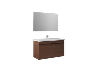 Krea 110Cm Kapaklı Set (Lavabo Dolabı+Ayna) Modern Ceviz