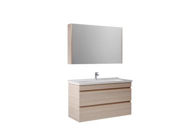 Krea 110Cm Çekmeceli Set (Lavabo Dolabı+Aydınlatmasız Ayna Dolabı) Krem Meşe