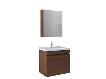 Krea 70Cm Kapaklı Set (Lavabo Dolabı+Aydınlatmasız Ayna Dolabı Dolabı) Modern Ceviz