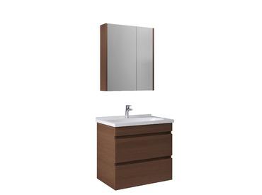 Krea 70Cm Çekmeceli Set (Lavabo Dolabı+Aydınlatmasız Ayna Dolabı Dolabı) Modern Ceviz