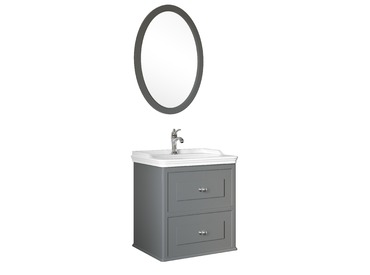 Miro 65 Cm Set (Lavabo Dolabı+Ayna) Mat Gri
