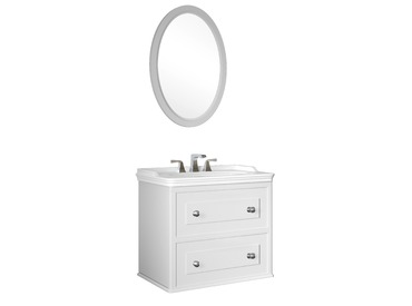 Miro 80 Cm Set (Lavabo Dolabı+Ayna) Mat Beyaz - 3 Delikli Lvb
