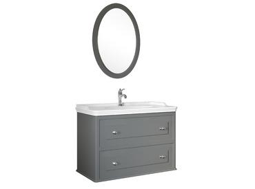 Miro 100 Cm Set (Lavabo Dolabı+Ayna) Mat Gri