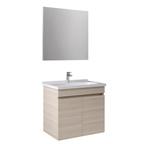 Krea 65Cm Kapaklı Set (Lavabo Dolabı+Ayna) Krem Meşe
