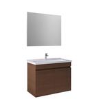 Krea 80Cm Kapaklı Set (Lavabo Dolabı+Ayna) Modern Ceviz
