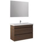 Krea 80 Cm Çekmeceli Set (Lavabo Dolabı+Ayna) Modern Ceviz