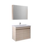 Krea 80 Cm Kapaklı Set (Lavabo Dolabı+Aydınlatmasız Ayna Dolabı) Krem Meşe