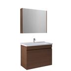 Krea 80 Cm Kapaklı Set (Lavabo Dolabı+Aydınlatmasız Ayna Dolabı) Modern Ceviz