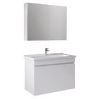 Krea 80 Cm Kapaklı Set (Lavabo Dolabı+Aydınlatmasız Ayna Dolabı) Beyaz