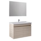 Krea 100Cm Kapaklı Set (Lavabo Dolabı+Ayna) Krem Meşe