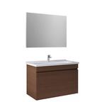 Krea 100Cm Kapaklı Set (Lavabo Dolabı+Ayna) Modern Ceviz