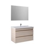 Krea 100 Cm Çekmeceli Set (Lavabo Dolabı+Ayna) Krem Meşe