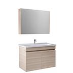 Krea 100 Cm Kapaklı Set (Lavabo Dolabı+Aydınlatmasız Ayna Dolabı) Krem Meşe