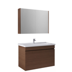 Krea 100 Cm Kapaklı Set (Lavabo Dolabı+Aydınlatmasız Ayna Dolabı) Modern Ceviz