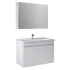 Krea 100 Cm Kapaklı Set (Lavabo Dolabı+Aydınlatmasız Ayna Dolabı) Beyaz