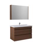 Krea 100 Cm Çekmeceli Set (Lavabo Dolabı+Ayd.Sız Ayna Dolabı) Modern Ceviz